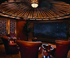 OMG, that would work on my living room ceiling which is already trayed, but must change to a spidah web design!  steampunk/victorian decor   Steampunk Fashion - Steampunk Home Theatre