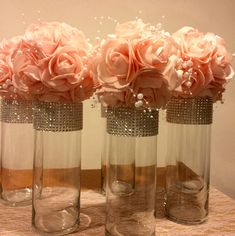 This listing is for 12 tall GORGEOUS cylinder shaped vases with rhinestone look mesh ribbon. I have three sizes on these vases, 10 inches tall, 9 inches tall and 7 inches tall and Ill have the 3 inch opening. Just choose the size you want from the drop Quinceanera Centerpieces, Tall Wedding Centerpieces, Quinceanera Party, Party Centerpieces, Cylinder Centerpieces, Bling Centerpiece, Cheap Centerpiece Ideas, Diy Flower Centerpieces, Princess Centerpieces
