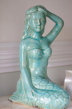 Beach Decor Vintage Ceramic Aqua Mermaid by beautifuldetailswed, $60.00