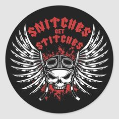 Snitches Get Stitches Classic Round Sticker   harley biker chick, biker bar, queen quotes badass #bikerquotes #rideordie #ridehard, 4th of july party Angel Wallpaper, Phone Wallpaper Images, Breaking Bad Art, Biker Bar, Harley Davidson Images, Gothic Lettering, Skull Sleeve Tattoos, Snitches Get Stitches, Biker Tattoos