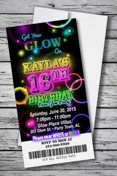 Birthday party invitation GLOW IN THE DARK NEON BLACKLIGHT THEME 4 x 8 Invitation with Envelopes! Only $1.33 each for 100. FREE SHIPPING! FREE PERSONALIZATION! Order at http://www.youprintcards.com/go/?p=390