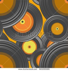 Vector seamless background old musical vinyl records