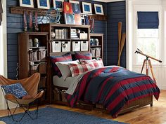 Beadboard Fieldhouse Bedroom // the ultimate storage room for a guy!