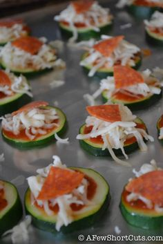 Zucchini Pizza Bites-3 This would be a good deal if we fry up the zucchini before we do the toppings;-)