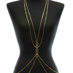"BODY CHAIN.             R ABSOLUTELY GEORGOUS  MULTI STRAND  CHAIN LAST TWO PICTURES SHOWS ATTRACTIVE BACK   26""L Accessories"