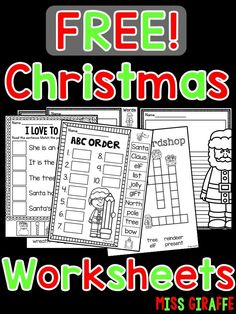 Free Christmas worksheets that are fun activities for kids in first grade kindergarten or even and easy for teachers because they are no prep printables you can use for December morning work that keep students learning until winter break Christmas Math, Christmas Activities For Kids, Christmas Words, Winter Activities, Christmas Crafts, Thing 1, School Holidays, School Fun, School Stuff