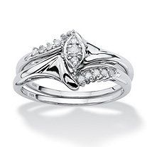 1/5 TCW Round Diamond Platinum over Sterling Silver 2-Piece Bridal Engagement Wedding Ring Set