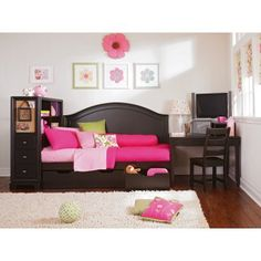 If you're making over a bedroom for a tween or teen girl and need some practical furniture you can't beat a storage study combo like this one.  Maybe one day!