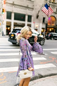 Purple Floral Dress With Bell Sleeves - The perfect fall floral dress that be casual or dressed up!