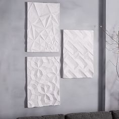 Papier-Mache Wall Art - Geo Panel #westelm  What do you think about the one on the right for my bedroom wall? Or the other one I pinned?