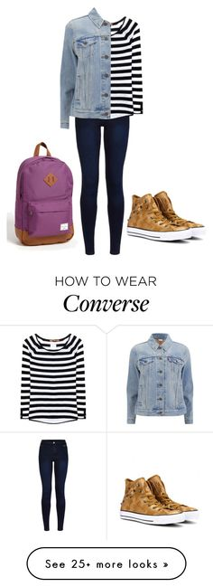 """My school outfit"" by fatenicon1989 on Polyvore featuring Urban Bliss, 81hours, Levi's, Converse and Herschel Supply Co."
