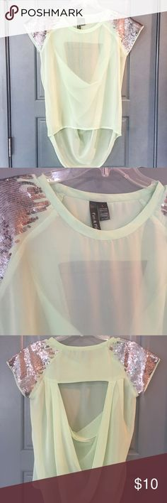 Fashion sequin blouse Super cute and fashionable blouse with silver sequin. Open back. Wear it only once. Tops Blouses