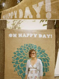 burlap photo backdrop ideas | ... photo booth idea use stencils to paint burlap amp hang as background