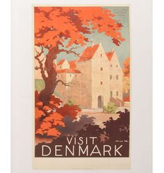 "Sven Henriksen (1890-1935), Visit Denmark, The Old Castle travel poster; Kruckow-Waldorff, Copenhagen; 39 1/2"" x 23 1/2\""; signed in the print. Pressed seam, two repaired tears-longest is 5\"" (top of print)."