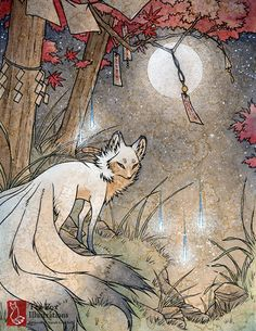 A kitsune pauses underneath a Japanese maple. - - - - - - - - - - - - - - Overall Size: 8.5x11 inches Edition: Open  Finish: Matte  Border: