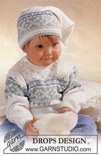 """Das Set besteht aus: DROPS Pulli, Hose und Mütze in """"Baby Merino"""". ~ DROPS Design"""