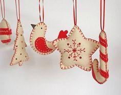 felt craft ideas handmade decorations Christmas tree ornaments ideas