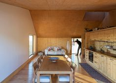 Paratelier build interior for a house from the wood it was cast inside
