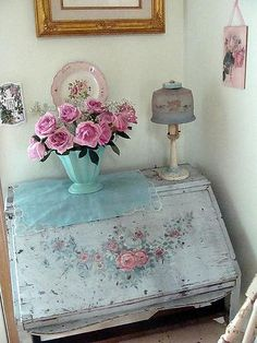 Shabby chic desk with painted roses