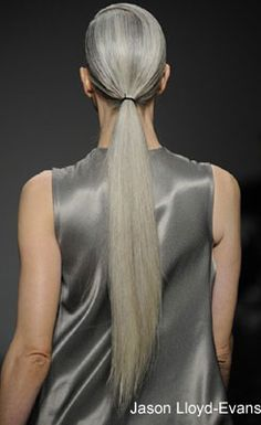 Model of the Moment Kirsten McMenamy with her waist-length silver locks
