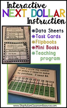 For life skills and special education classrooms, this is a great tool.  All the materials needed to introduce and teach the next dollar or dollar up strategy for making purchases in real-life.  Includes data sheets, visual supports, a teaching program, and varying difficulties of task cards.