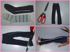 Mamma Claudia e le avventure del Topastro: Vestiti per Barbie e Ken. Doll clothes made from socks!