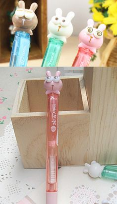 Pick from three designs, kawaii rabbit with startled expressions and googlie eyes mechanical pencils. 0.5mm
