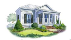 A Charming Southern Cottage – Blue and White Home Small Cottage House Plans, Small Cottage Homes, Small Cottages, Cottage Kitchens, Guest Cottage Plans, Small Homes, Traditional Shutters, Southern Cottage, Southern Living