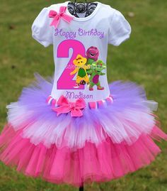Barney Birthday Tiered Tutu Outfit | Barney Birthday Outfit | Barney Birthday Party Ideas | Barney Birthday for Girls | Birthday Ideas for Girls | Twistin Twirlin Tutus #barneybirthday #kidsbirthdays