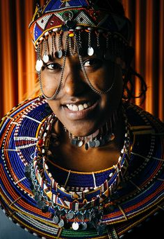 closeup portrait of female Maasai