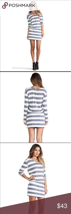 C & C California Gray, White Striped Dress Sz S Hardly worn, excellent condition C&C California Dresses Long Sleeve