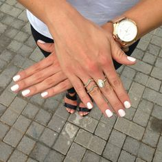 Nude white nails and gold watch. White Nails, Wood Watch, Kobe, Watches, Accessories, Style, Fashion, White Nail Beds, Wrist Watches
