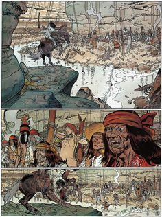 """Moebius/Jean Giraud Page 12 - Colors by Florence Breton From """"Geronimo The Apache"""" - Volume #26Blueberry - Dargaud Edition, Paris 1999"""