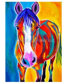 Colorful Horse Painting Print 8x10 by Alicia VanNoy by dawgpainter