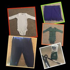 DIY Incredible Hulk infant costume. I'm pretty sure any fabric dye will work. I couldn't find boy pants in purple, so I had to shop in the girls section!
