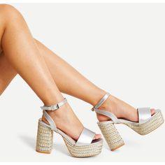 ff8da21892c Metallic Platform Espadrille Sandals ( 42) ❤ liked on Polyvore featuring  shoes