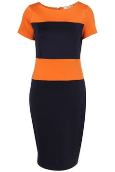 navy blue and orange dress by rare at topshop