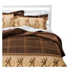 Brown Buckmark Logo Plaid Comforter Set 3 Piece (California King) - Browning