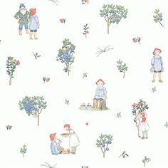Putte, Scandinavian design by Elsa Beskow from the Scandinavian Designers Mini collection - Boråstapeter. Gorgeous wallpaper for kids room and nursery. Elsa Beskow, Kids Room Wallpaper, Of Wallpaper, Art Deco Design, Wall Design, Wallpaper Collection, Scandinavian Wallpaper, Wallpaper Companies, Scandinavian Design