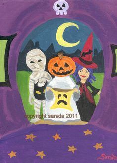 Halloween trick or treat art 5 x 7 print by ArtBySarada on Etsy, $8.00