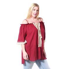 JED Women's Burgundy Plus-size Spaghetti Strap Off-shoulder Peasant Blouse