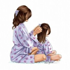 The times mum used to do my hair.wish she still did 😂 this illustration is available on Etsy just in time for Mothers day coming up 💜 Mother And Daughter Drawing, Mother Daughter Quotes, Mother Art, Mom Daughter, Mother Daughters, Sarra Art, Girly M, Girly Drawings, Illustration Mode