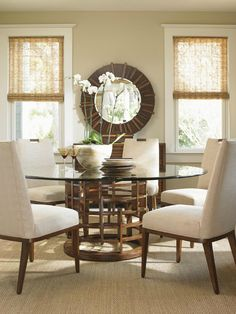 Island Fusion Meridien Dining Table and Coles Bay Side Chair Set by Tommy Bahama Home