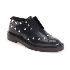 Women's Balenciaga Stud Embellished Platform Derby ($885) ❤ liked on Polyvore featuring shoes, oxfords, blue, studded platform shoes, wingtip shoes, studded shoes, wing tip shoes and calfskin shoes