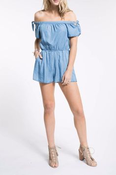 This off the shoulder romper has pockets and ties at the shoulder. Off Shoulder Romper by PPLA. Off Shoulder Romper, Off The Shoulder, First Day Of Summer, Romper Outfit, Jumpsuits, Ties, Rompers, Pockets, Denim