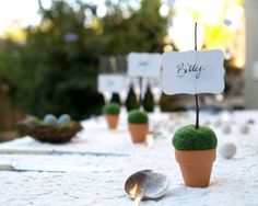Garden Wedding Place Setting Cards, Rustic Moss Favors 10 Mossy Fairytale Fairy Classic Shabby Chic Country Theme Baby Shower Flower Pot on Etsy, $30.00