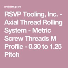 RSVP Tooling, Inc. - Axial Thread Rolling System - Metric Screw Threads M Profile - 0.30 to 1.25 Pitch