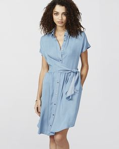 Create an effortless laid-back look in this menswear-inspired chambray dress. A wrap style allows for a custom fit. Wrap Shirt, Chambray Dress, Rachel Roy, Wrap Style, Blue Dresses, Menswear, Shirt Dress, Casual, Shirts