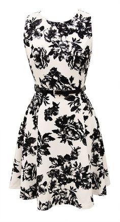 Lace Print A-Line Skater Dress W/ Belt