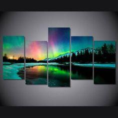Aurora Borealis Wall Art, Aurora Borealis Canvas Art, Aurora Borealis Wall Decor Piece Canvas Art, Aurora Borealis Landscape Painting
